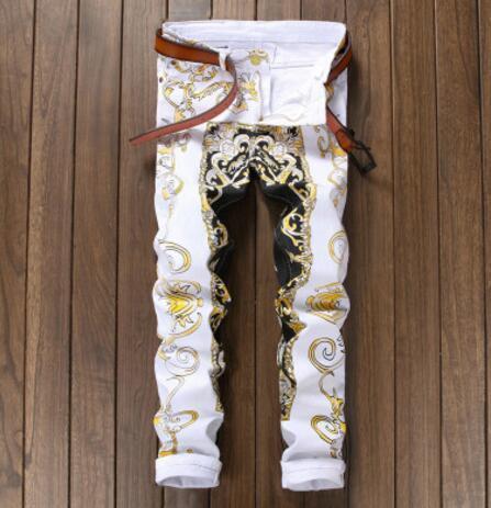 2017 New Men casual Jeans Fashion Designer Denim pants Slim Male European and American printing nightclub trousers