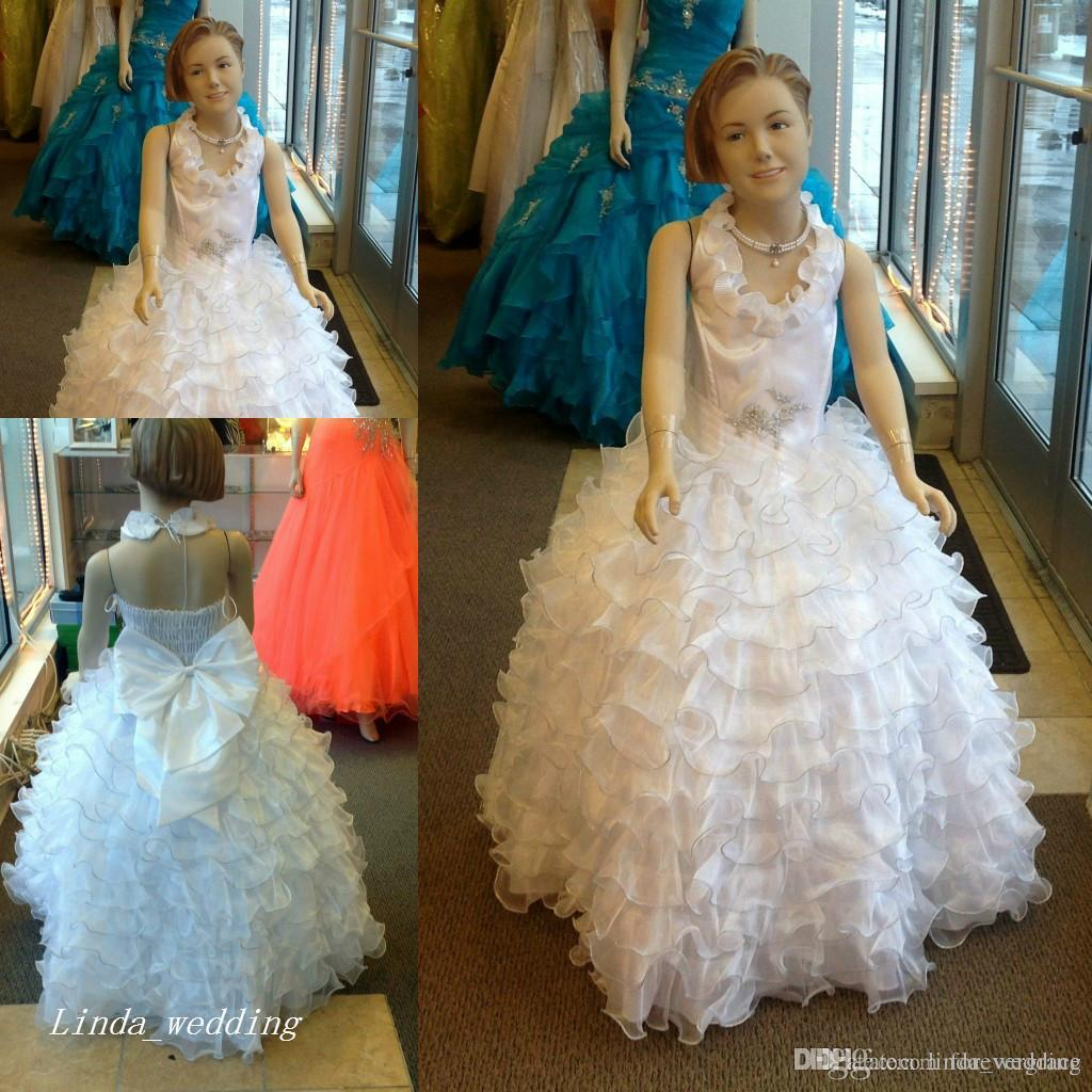 Robes De Filles Élégantes De Fleurs Robe De Bal Longue Danse Parti Princesse Mariages Parti Petites Filles Pageant Robes Première Robe De Sainte Communion