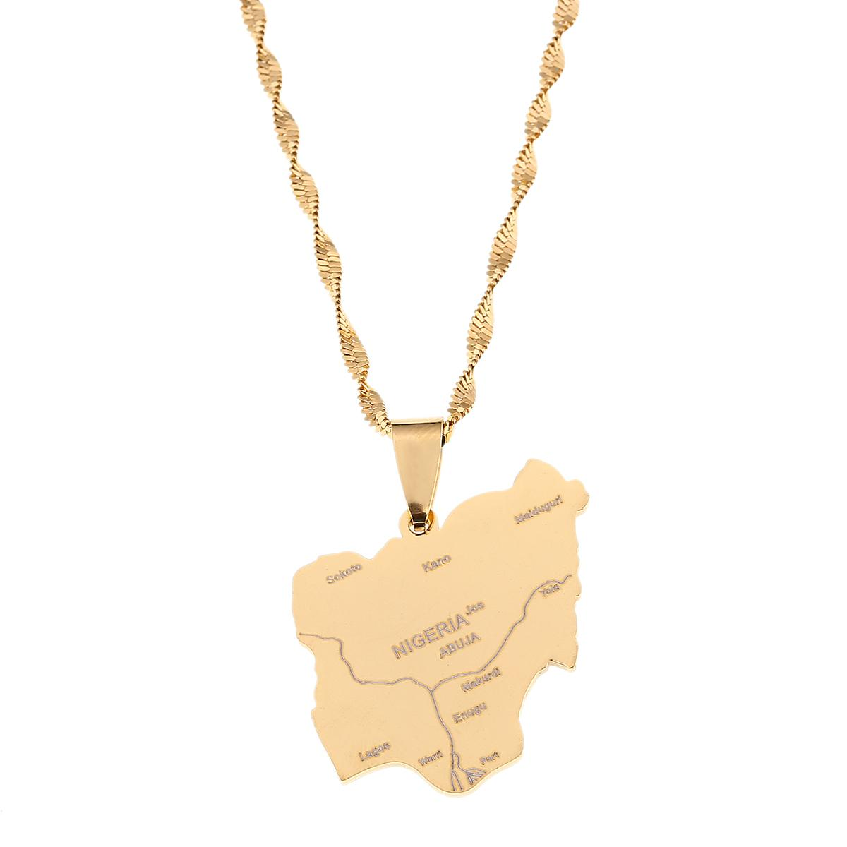 Stainless Steel Gold Nigeria Map Pendant Necklaces Country Maps Africa Nigerians Maps Jewelry
