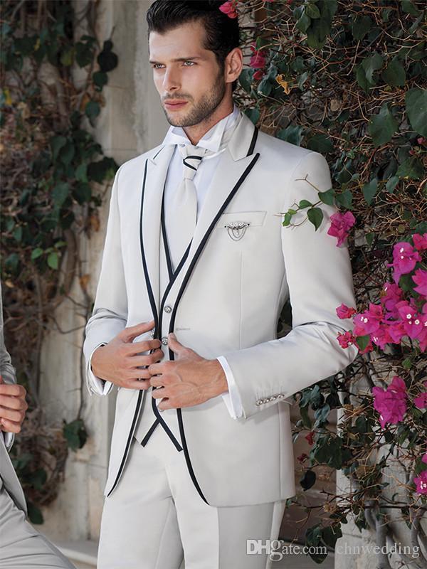 Custom White Slim Fit Wedding Groom Tuxedos Men Suits with Black Edge Shawl Lapel Best Men Blazer Prom Wear (Jacket+Pants+Vest)