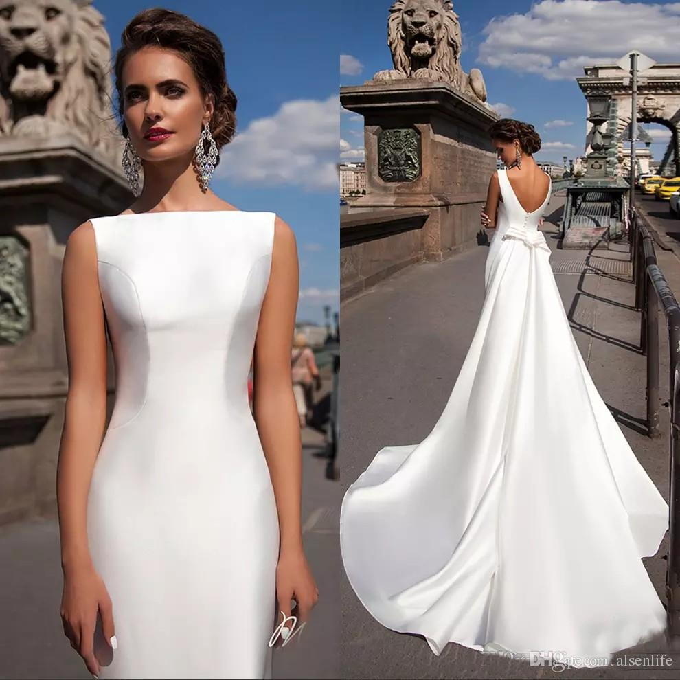 2018 Satin Mermaid Wedding Dresses Bateau Boat Neck Sleeveless Fitted Long Sheath With Detachable Train Bow V Back Plus Size Bride Gowns