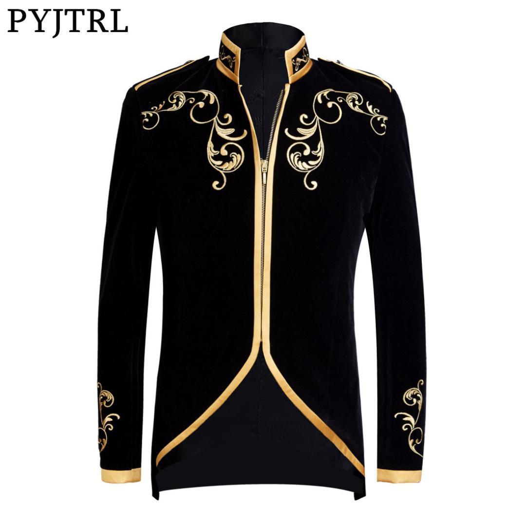 PYJTRL 영국 스타일의 프린스 패션 블랙 벨벳 골드 자수 재킷 결혼식에 신랑을 맞춤 남자는 재킷 가수 코트