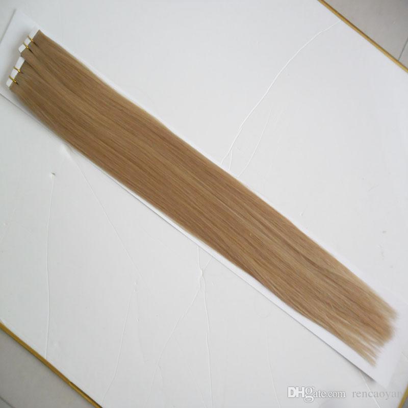 # 18 Dark Ash produtos de cabelo loiro não transformados virgem brasileiro da pele do cabelo reto extensões de cabelo fita de trama 100g (40 pcs)