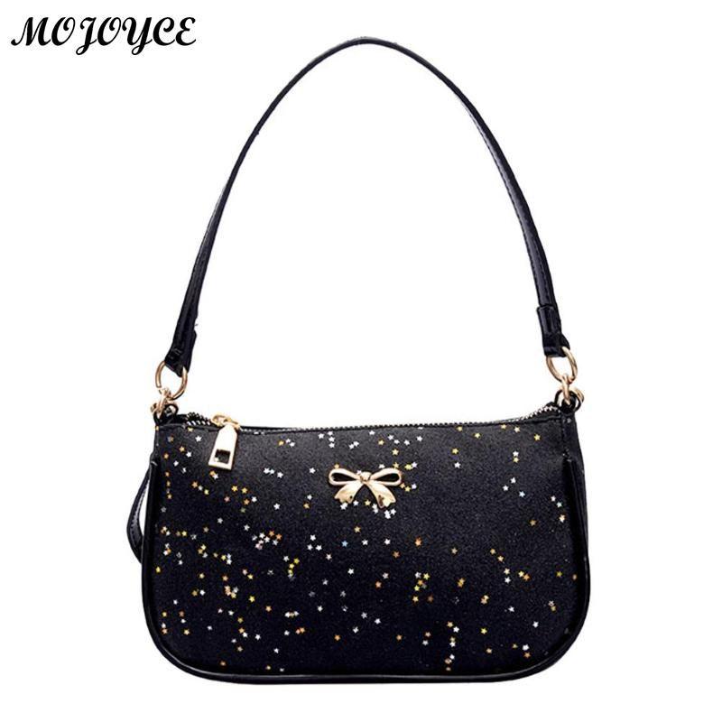 Women Shining Sequin Bowknot Clutch Sling Handbags PU Leather Messenger Crossbody Bags Fashion Shoulder Bags Tote Casual