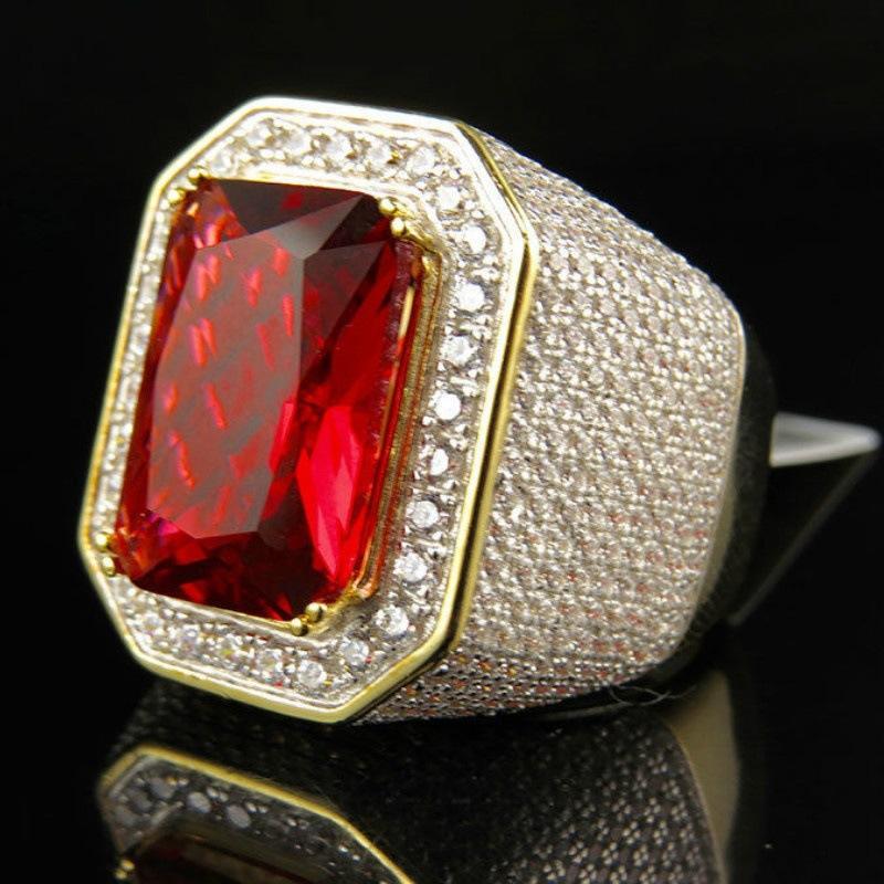 Herren Ring Gold Farbe Klassische Männlichen Vintage Männer Ring Rot Stein CZ Dubai Luxus Ringe Party Modeschmuck Größe 8 12