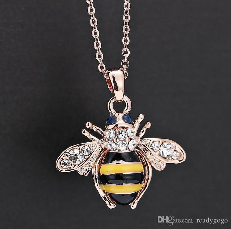 Free Shipping Luxury Pendant Bridal Necklaces Jewerly Charm Bee Crystal Enameled Necklace Jewelry For ladies At The Wedding