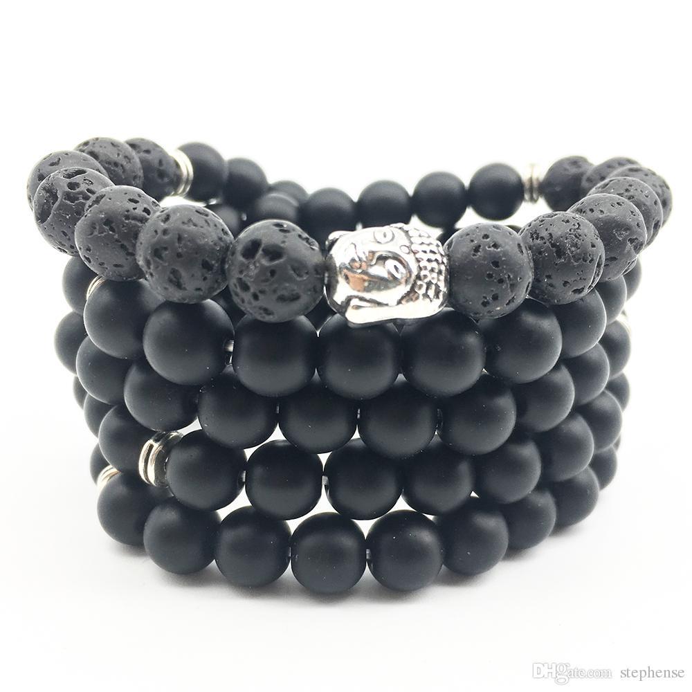 SN1369 Mode Bracelet De Yoga Pour Femmes De Haute Qualité Équilibre Guérison 108 Bracelets De Mala 8 mm Lava Matte Noir Onyx Bracelet