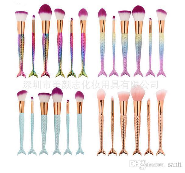 New 11PCS/sets Pro Mermaid Makeup Brushes Foundation Eyebrow Eyeliner Blush Powder Cosmetic Concealer Professional Makeup Brushes Set