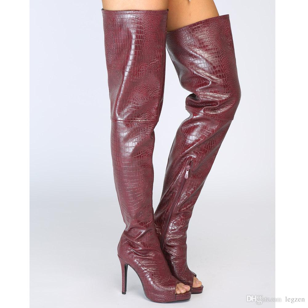 Fashion Burgundy Shoes Woman Plus Size Wine Red