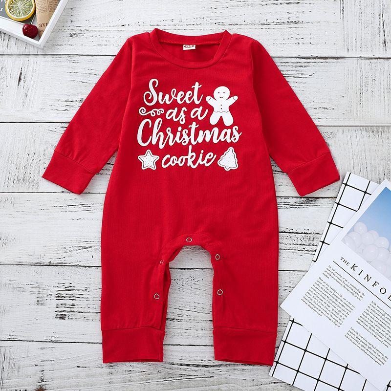 Natal bebé recém-nascido roupa da menina 2018 Marca New Doce Carta Snowman manga comprida de algodão Jumpsuit Romper infantil Criança Roupa 0-24M