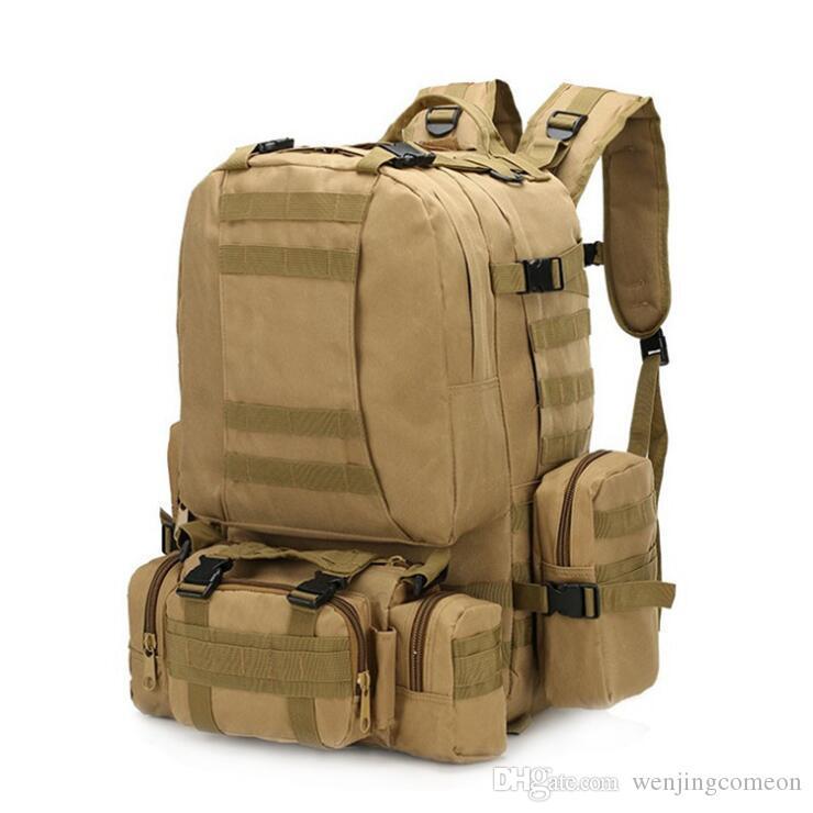 4에서 1 다기능 군사 전술 배낭 50L 600D 옥스포드 위장 하이킹 배낭 방수 스포츠 등산 가방 어린이 여행 가방