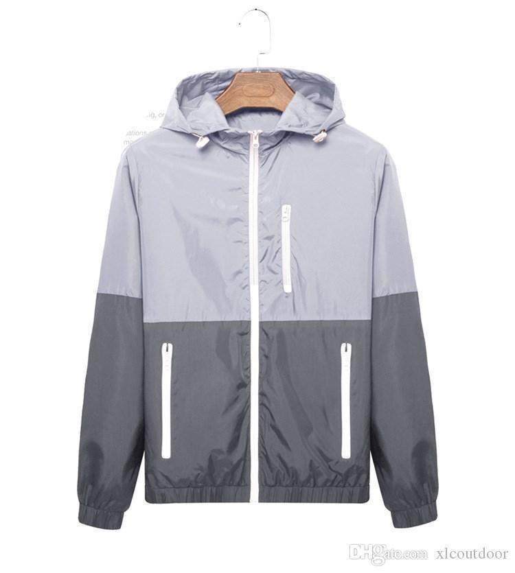 la moda nueva capa de la manga de los hombres de las mujeres largas de la chaqueta de deportes al aire libre más el tamaño Otoño Windrunner con la cremallera Ropa hombre windcheater