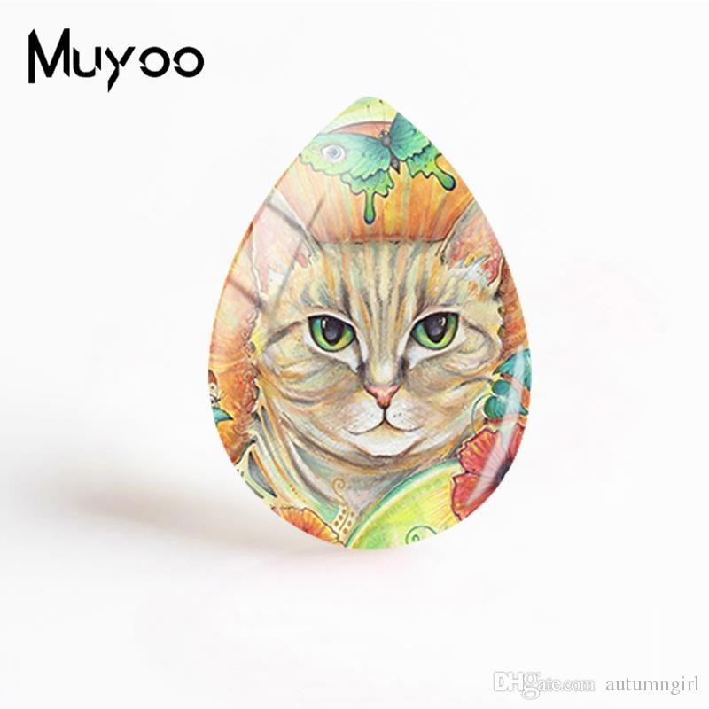 New Steampunk Cat Jewelry Cats Piantings Tear Drop Glass Dome Cabochon Photo Hand Craft Gifts Women