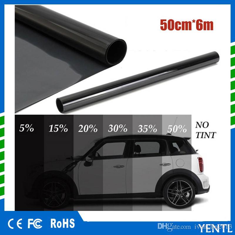 free shipping yentl wholesales 50cm x 6M Black Glass Window Tint Shade Film VLT 5% Auto Car House Roll PLY Auto Glass Solar Protection