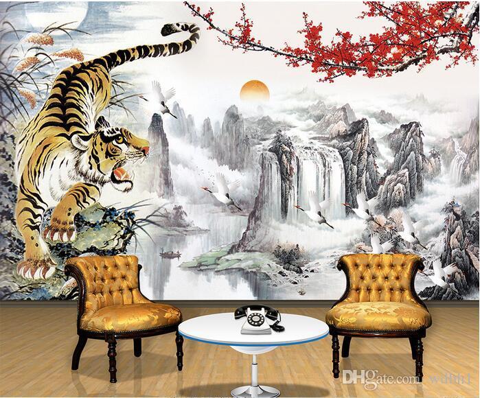 3d wallpaper benutzerdefinierte foto Chinesische malerei landschaft pflaumen tiger tv hintergrund wand wohnzimmer 3d wand muals tapeten für w ... 3 d