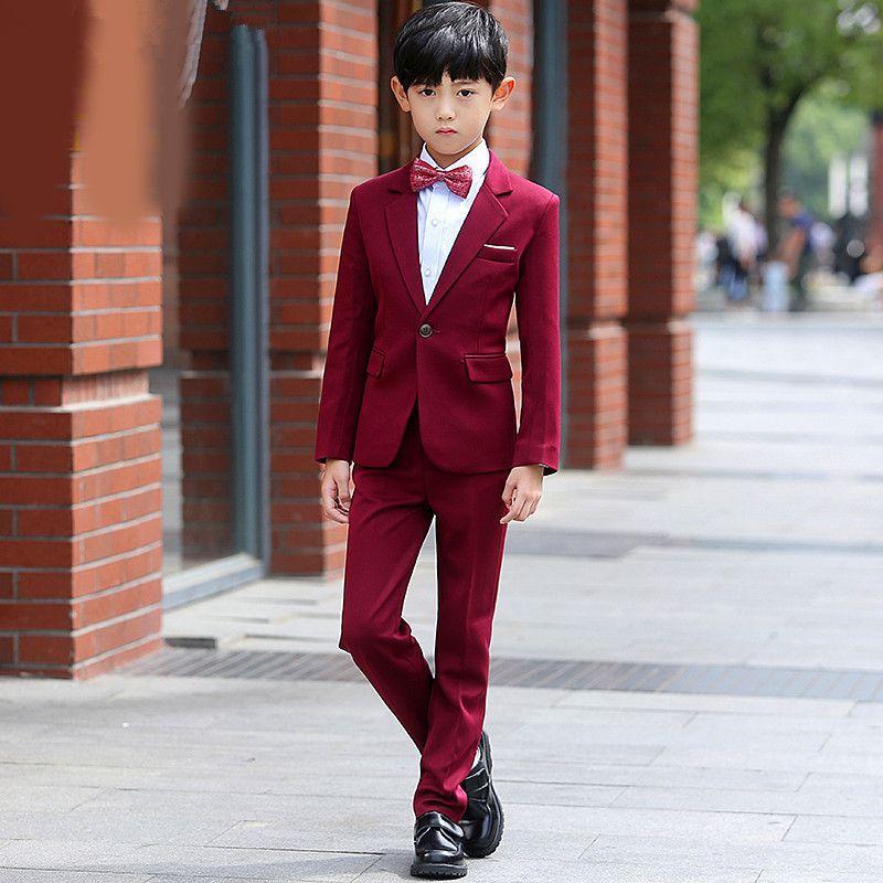 Yeni sıcak erkek yakışıklı takım elbise İnce iki parça bir takım elbise (ceket + pantolon) çocuk mezuniyet töreni resmi elbise destek özel