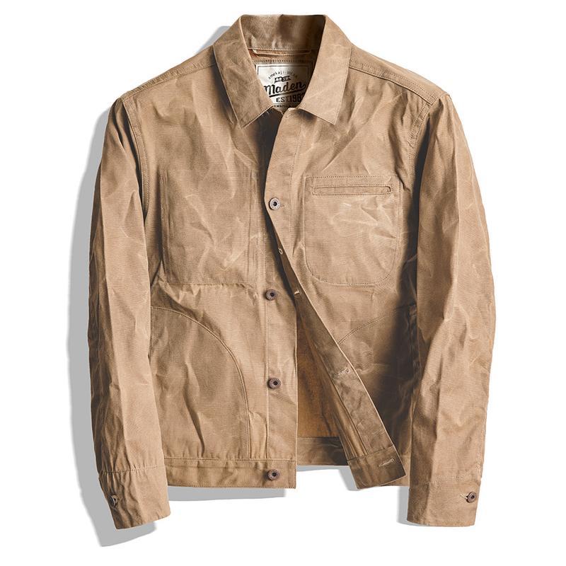 Top High-quality Men Jacket and Coat tool American retro heavy oil wax canvas khaki jacket classic double cut slim male