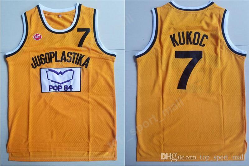 Uomini Moive Toni Kukoc Jersey 7 Giallo Basket Jugoplastika Split Pop Maglie Tutto Cucito Per Gli Appassionati di Sport Traspirante Spedizione Gratuita