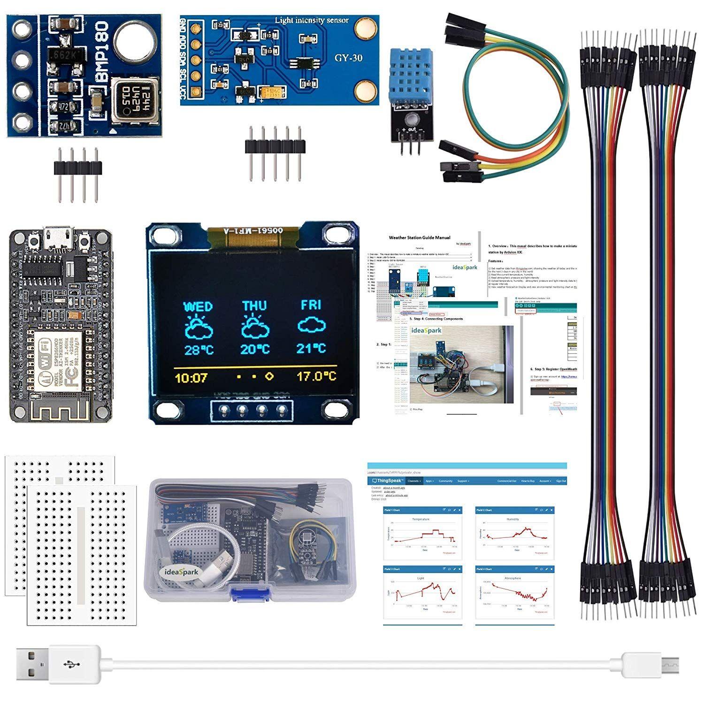 """ESP8266 Kit meteorologica con Temperatura Umidità Atmosphetic leggera pressione del sensore 0,96"""" display OLED (documento di orientamento inclusa)"""