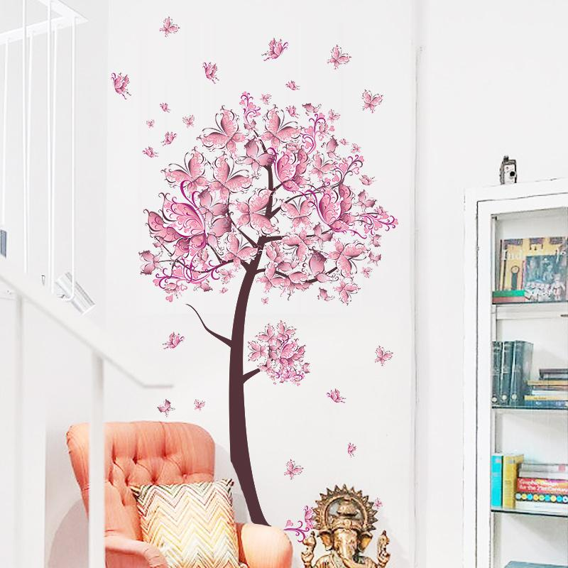 Pink Butterfly Flower Tree Wall Stickers Decals Girls Women Flower Mural Vinyl Wallpaper Home Living Room Bedroom Decor Vinyl Wall Quotes Vinyl Wall