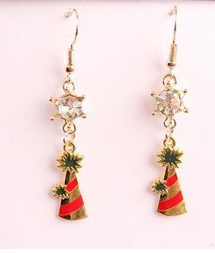 nouveau chaud européen vacances de Noël flocon de neige boucles d'oreilles arbre de Noël boucles d'oreilles en cristal zircon bijoux mode classique raffiné élégant