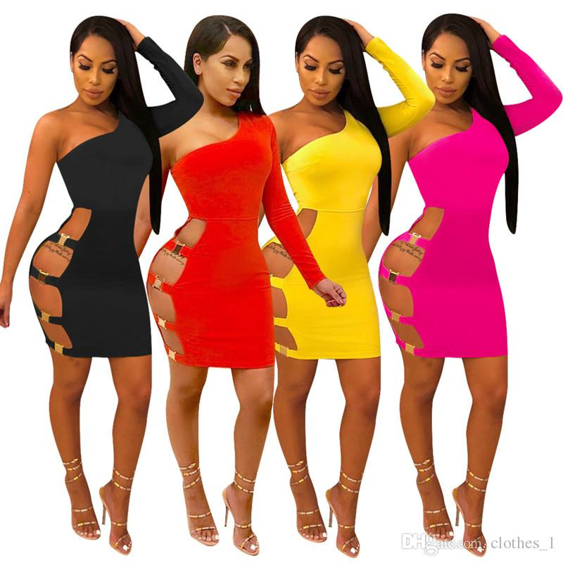 women off shoulder dress solid color skinny club suit one long sleeve hollow out tight club wear elegant fashion one-piece dress hot 93