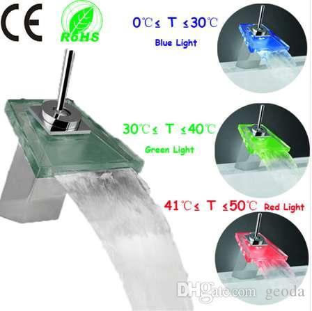 1 pc controle de Temperatura 3 cores New led latão cromado bacia do banheiro pia torneira misturadora torneira