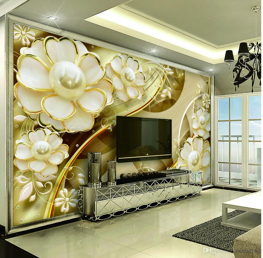 Пользовательские розничная лепесток Пномпень с Pearl TV фон живопись настенная декоративная живопись фреска обои