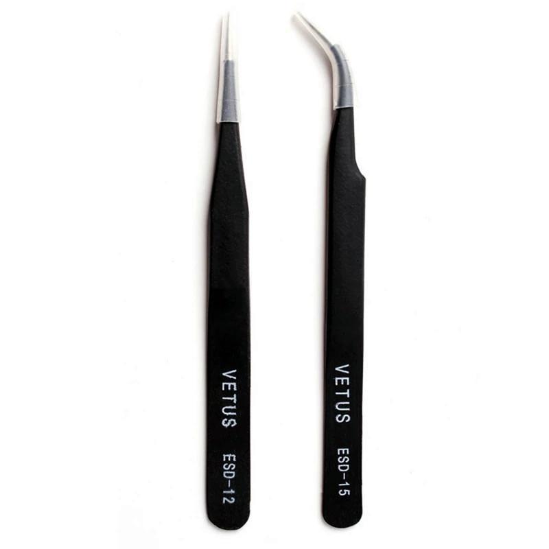 2 UNIDS Profesional Pinzas de Precisión Recubiertas Pinzas Antiestáticas de Acero Inoxidable Maquillaje Herramientas de Belleza SEASHINE Pinzas No Magnético al por mayor