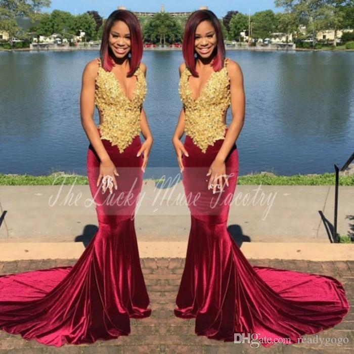 Gold and Burgundy Velvet Prom Dresses 2018 with Straps Lace Appliques Mermaid Flattered Fitted Black Girls Evening Dress