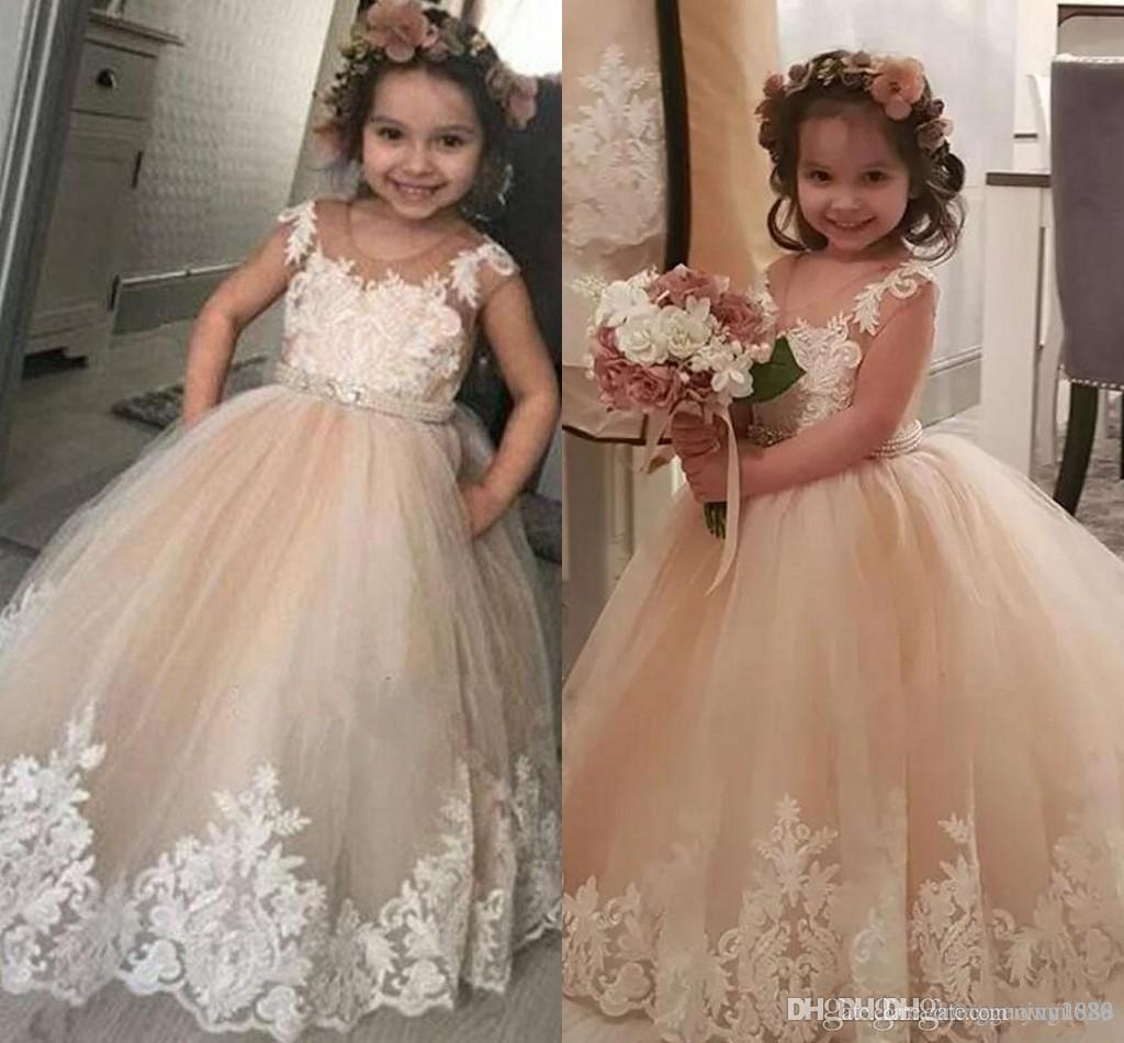 Свадебные платья девушки цветка линия Бато с короткими рукавами тюль на заказ слоновой кости маленький ребенок дети Причастие платья