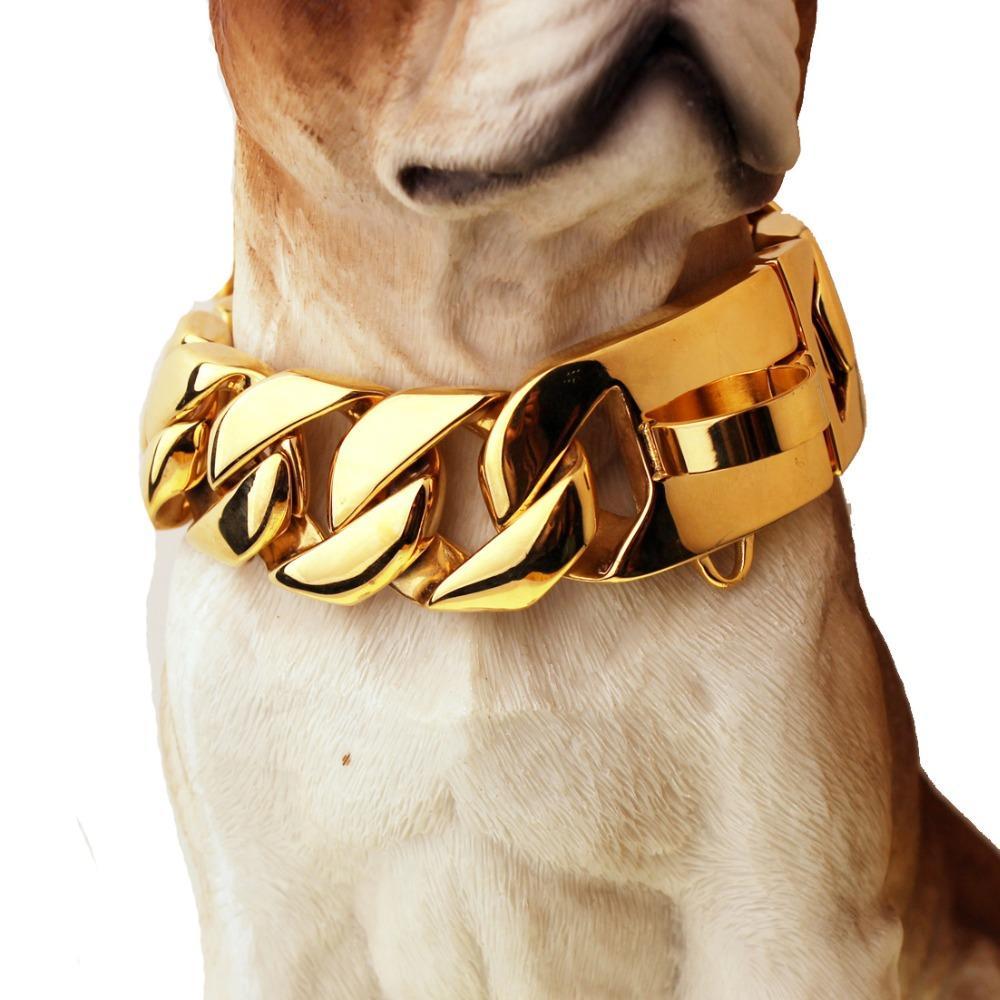 Betty 30 mm de ancho 18-26 pulgadas Turbal dorado Curb collar cubano Enlace de cadena de alta calidad Suave Collar de cadena de acero inoxidable 316L