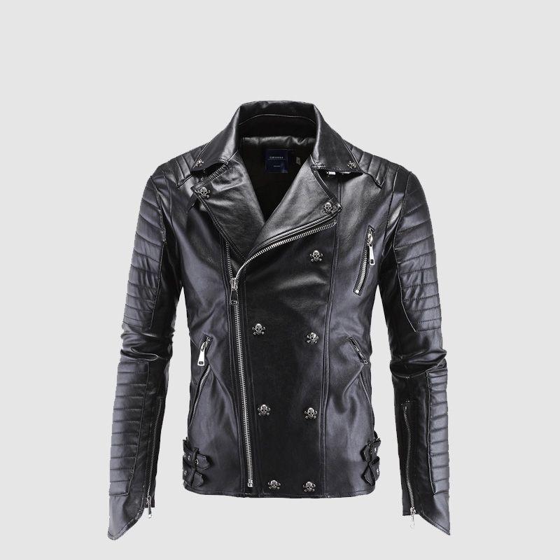 reputable site d55c9 ec230 Acquista Giacca In Pelle Da Uomo Designer Skull Rivet Con Borchie Punk Rock  Giacche Da Moto In Pelle Da Motociclista Nero Da Uomo Plus Size M 5XL A ...