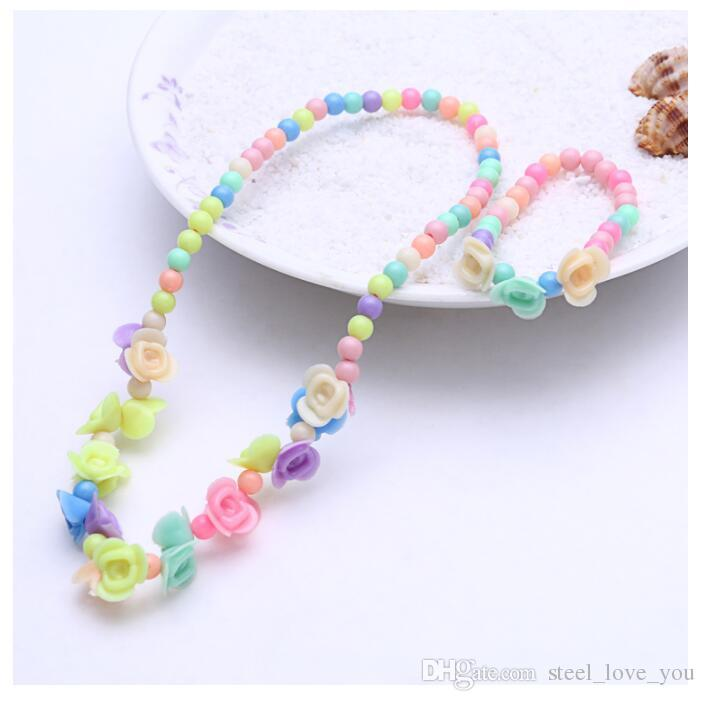 Children jewelry sets for girls gifts kid necklace set for girl Round Beads Colorful Necklace bracelet set Cheap Necklaces Send with free gi