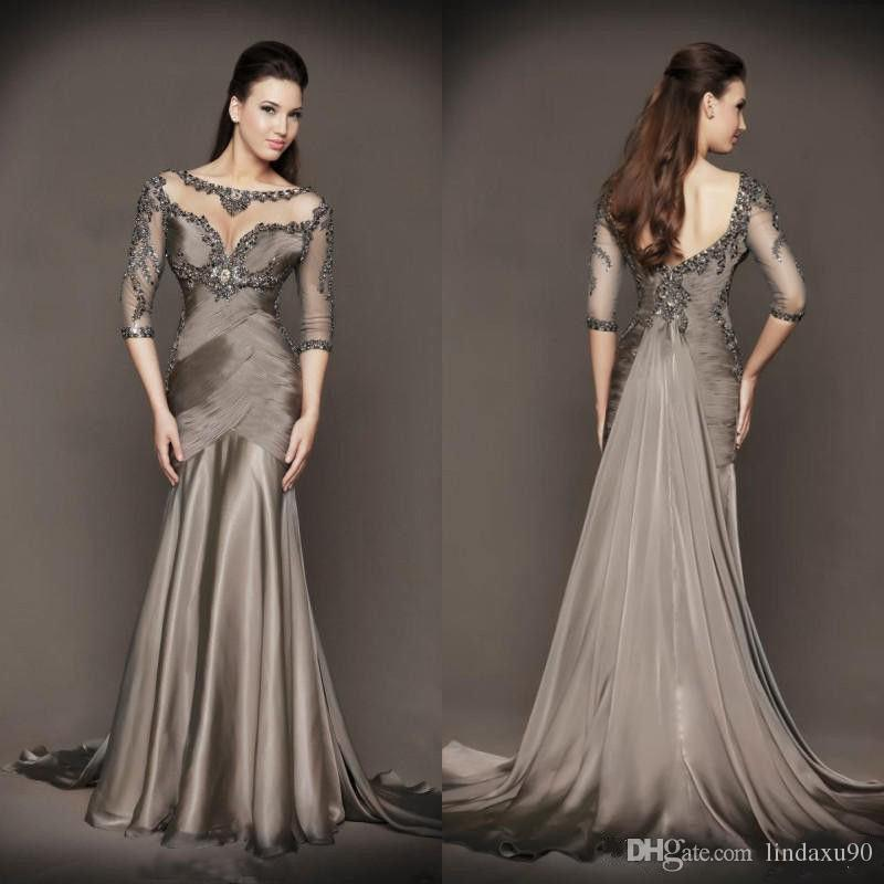 Designer Grey Mermaid Mother of The Bride Dresses 3/4 Long Sleeve Lace Appliqued Beads Pleats Wedding Guest Dresses
