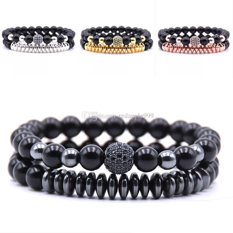 8mm Perles Noires Bracelet En Pierre Naturelle Micro Bracelet Incrusté De Zircon Pour Hommes De Mode Bracelet De Bijoux