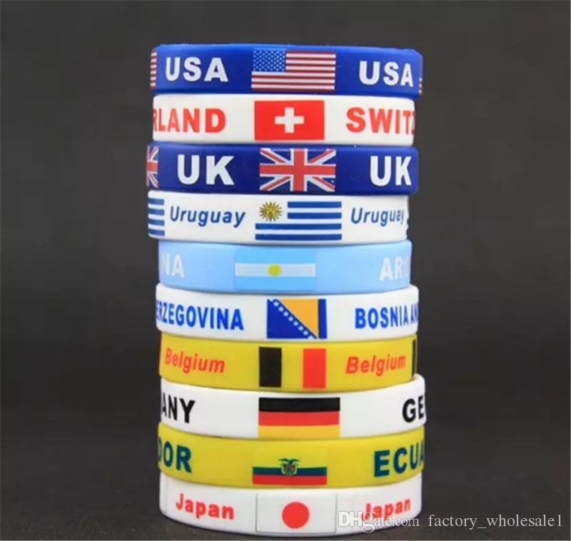 Russia World Cup Flags Silicone Bracelet Hand Ring wrist strap World Cup Flags countries flag Bracelet Football Flag