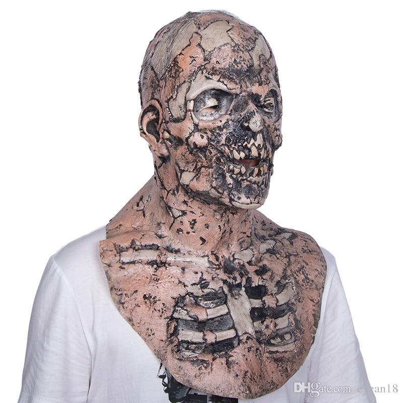 Halloween Adult Zombie Mask Latex Bloody Scary Disgusting Full Face Mask Costume Party Cosplay Prop