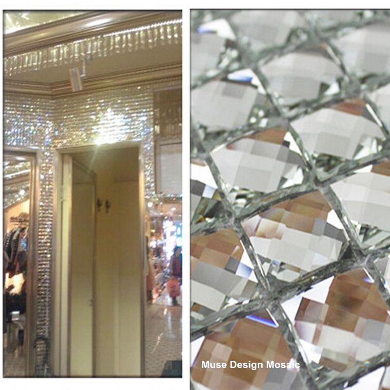 13 edges beveled Crystal Diamond Shining Mirror Glass Mosaic Tiles for showroom wall sticker KTV Display cabinet DIY decorate