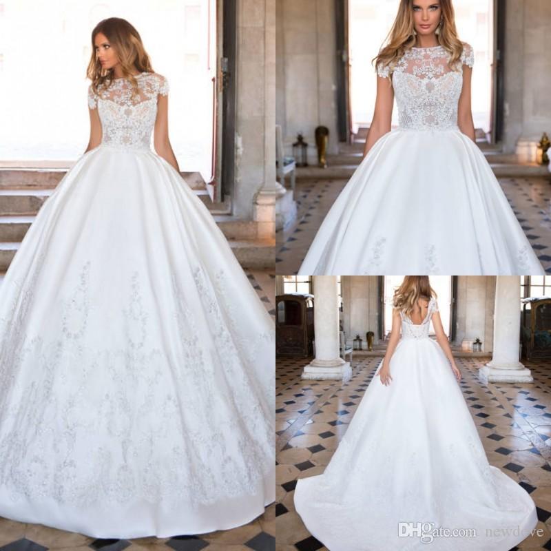 Milla Nova 2018 Bianco Abito da sposa in pizzo Abiti da sposa Abiti da sposa Vestido De Casamento Bridal Bridal Abito da sposa Backless Satin