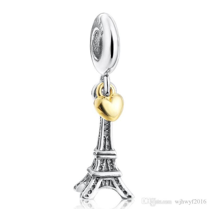 أصيلة 925 فضة القلب الذهبي مع برج استرخى قلادة الخرز سحر صالح سوار الأوروبي سوار للنساء اليدويه مجوهرات