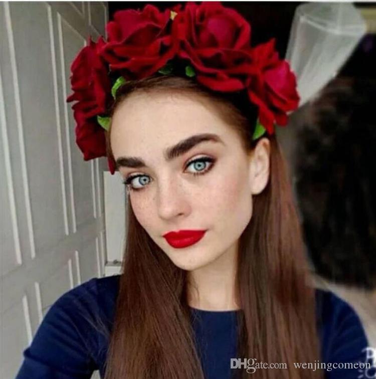 Роза цветок оголовье цветок корона для невесты гирлянда цветочные Корона ручной работы невесты цветок корона Роза оголовье аксессуары