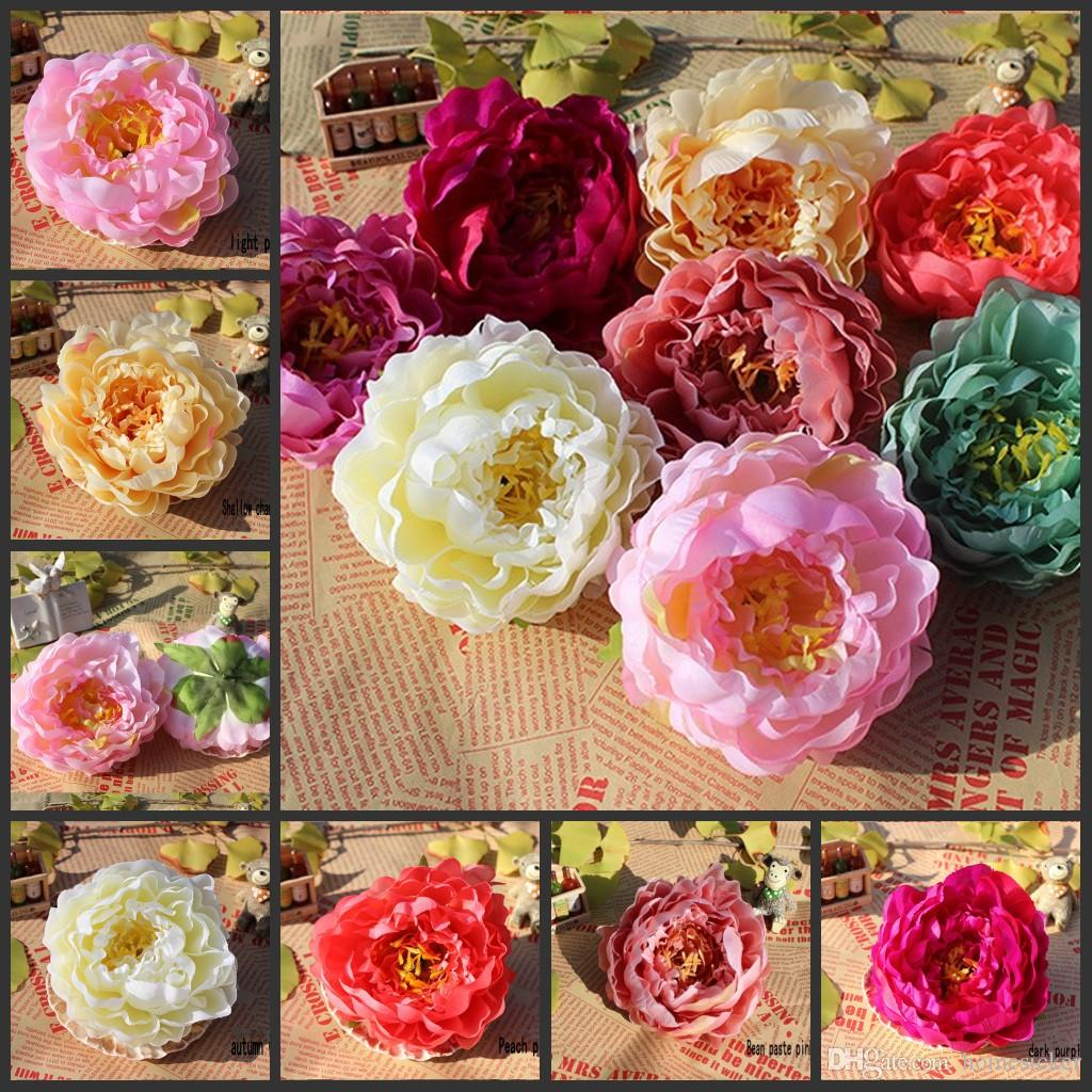 120pcs 14cm Fleurs artificielles pour le mariage Décorations soie Pivoine capitules Parti Décoration de mur de fleur de mariage Toile de fond blanc Pivoine