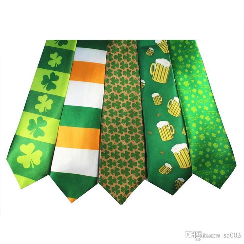 St Patricks Day Theme Cravatta Festa irlandese Stampa digitale Cravatta in fibra di poliestere Verde Shamrock Motivo a righe Cravatta Popolare 3 9xw dd