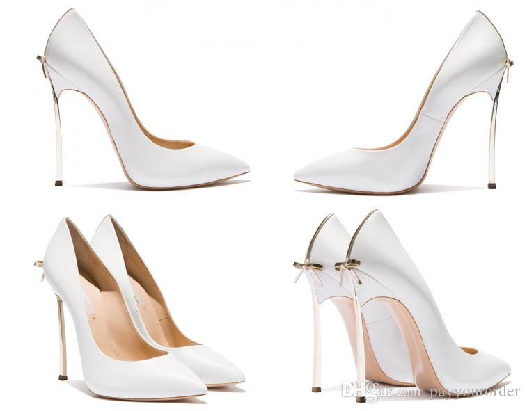 beige color +gold heel new brand sexy bowknot pointed toe high heel black night club wedding party bridal shoes