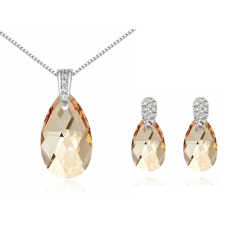 Avusturyalı Kristal Kolye Küpe Swarovski Elements Gelen Su Damlası Kristal Kadınlar Takı Setleri Moda Bijuteri 13613 5814