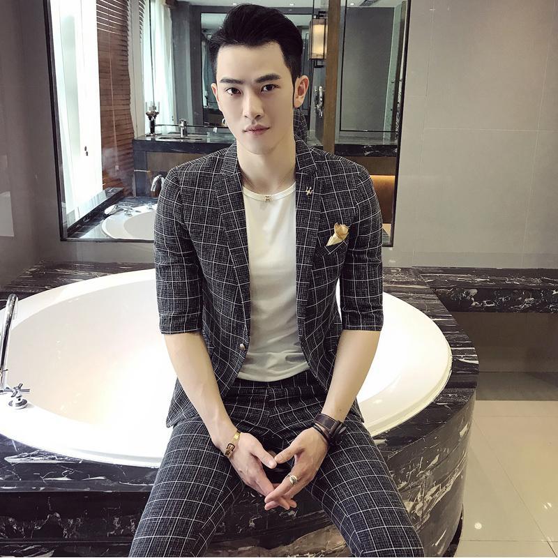 (Tops + pantalons été nouvelle tendance décontractée britannique dans le costume à manches rayées version coréenne masculine du costume de styliste Slim