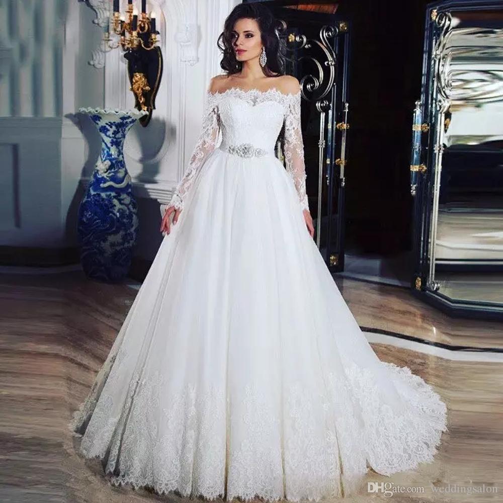 Vintage Ball Gown White/Ivory Lace Wedding Dresses Sheer Neck Long Sleeve Rhinestone Sash Wedding Gown Tulle Lace Up Back Bridal Dress