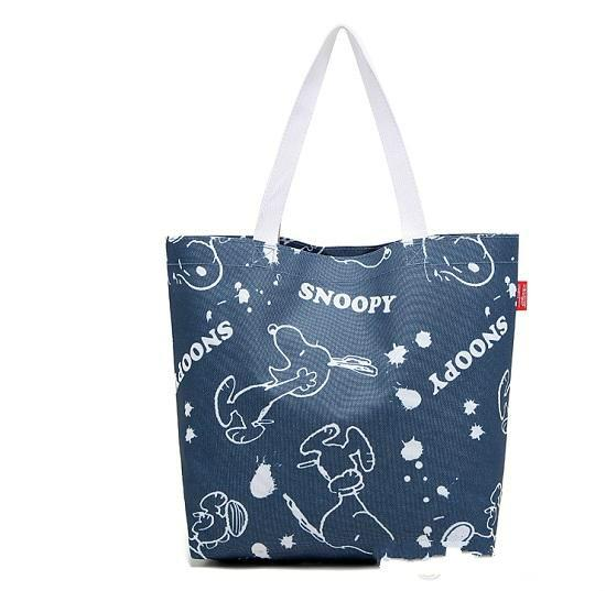 2017 Hot Sales Free shipping Denim Blue Snoopy waterproof Canvas reusable shopping bags