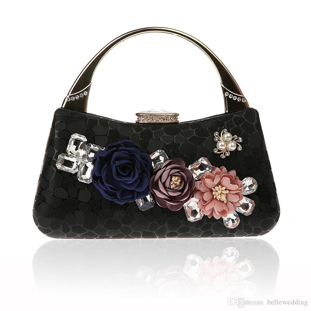 Women's Evening Bags Hight Quality with Pearls Rhinestones Bridal Hand Bags Clutch Box Handbags Wedding Clutch Purse for Women BW-929-1